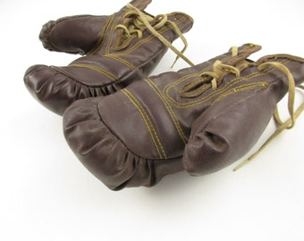 Vintage Child's Boxing Gloves - Double-stitched - Pugilist Collectors Alert - Beautiful pair of Boxing Gloves - Display - Historical