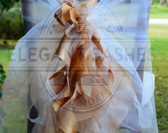 Set of 2 -  Bride and Groom Full Chair cover /Sash with Curly Accents CUSTOMIZED to your event
