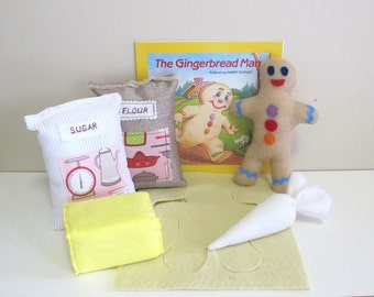 The Gingerbread Man Book and Reading Aid Set, Felt Food Baking