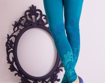 Submarine blossoms - Printed leggings/ Womens leggings