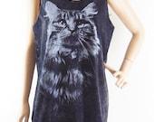 Cat shirt Kitten Cat Tank Top (unisex tank top) Graphic tees cute cat tank top funny shirt bleach black shirt sleeveless screen print size M