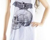Skull Bat Art Design women tank top unisex tank top size L