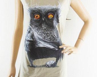 Owl Yellow Eyes shirt animal shirt women shirt brown shirt size S