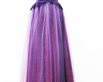 1940s Purple Debutante Prom Dress in Velvet and Tulle