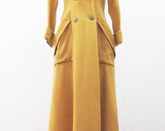 1940s Long Mustard Yellow Trench Coat