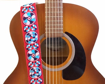 ON SALE - Guitar Strap - Vintage Psychedelic Swirls Woven Ribbon on Organic Hemp Webbing- Acoustic, Electric and Bass Guitars
