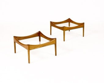 Danish Modern / Mid Century Modus End / Coffee Tables by Kristian Vedel for Soren Willadsen — Glass Top — Pair