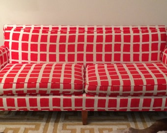 Vintage Red Checkered Sofa Reupholstered in Retro Fabric