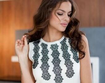 "Elegant classic silky viscose white dress ""Chosen"" with beautiful lace. Midi dress"