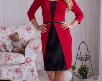 """Stylish red and black knit dress """"Cloves"""" with pleated skirt and lace. Midi dress"""
