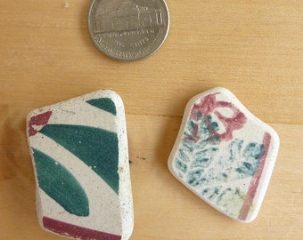 2 Pendant Shape Red and Green BEACH SEA POTTERY  Shards Scottish Antique