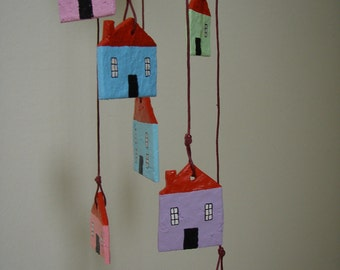 Mobile with Houses No2, Paper Mache .