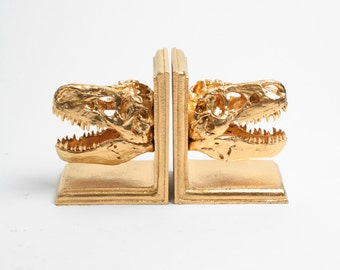 Dinosaur Bookends in Gold - Resin T-Rex Skull Bookends - White Faux Taxidermy - Gold Home Decor - Office Library Decor - Book Storage