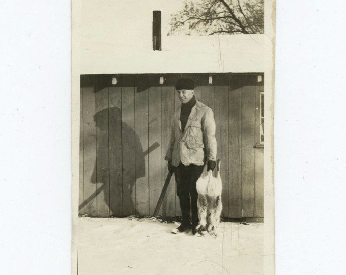Hunter, Kill, Shotgun & Shadow c1940s Vintage Snapshot Photo (59413)