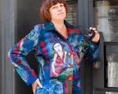 Blue, Red, woman, felting, silk fibers, woman jacket, jacket felt, wool, merino wool, collar, fibre art,  size XL,
