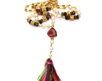 Watermelon Tourmaline Necklace Tourmaline Slice Necklace Tassel Necklace Freshwater Pearl Necklace Lariat Necklace Gemstone Jewelry