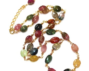 "Watermelon Tourmaline Necklace Rainbow Tourmaline Smooth Oval Tourmaline Jewelry Multicolor Gold Station Necklace 16"" 18"" Necklace FizzCandy"