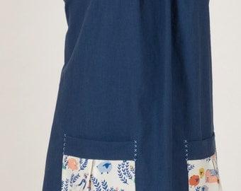 Homestead Life Dress - 100% Organic Cotton, Big Pockets, Tie Back Smock Style Wrap Dress, Pinafore, Japanese Apron