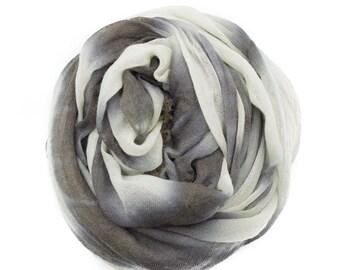 Shibori Dyed Wool Scarf - Black/Blue