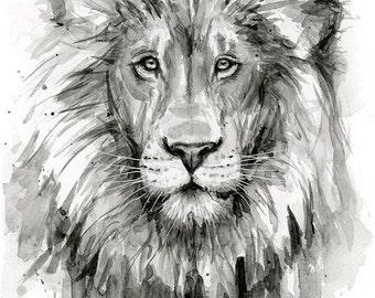 Lion Watercolor Painting, Black and White Lion, Art Print, Jungle Nursery, Safari Animals, Nursery Print, Lion Decor, Lion Print, Wildlife