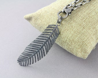 Pave Diamond Pendant, Pave Feather Pendant, Diamond Feather Charm, Pave Feather Necklace, Diamond Large Feather, Oxidized Silver.(DCH/CR390)