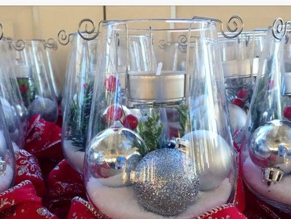 Wine glass tea light candle holder set of 2