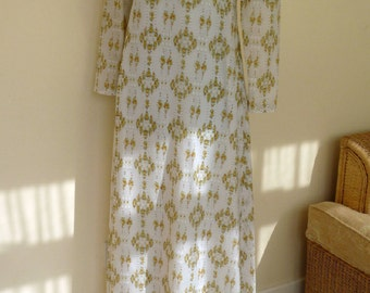 Vintage Romantic Long Dress, Mutton Sleeves, Empire Bodice, High Roll Neck, Floral Print XS UK size 6