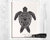 RESERVED Custom Never Give Up Turtle Shell Print