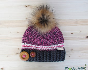 Rustik hat. Gray, pink and cream woman crochet winter hat with buttons and fur pompom by Akroche Tatuk (made to order)