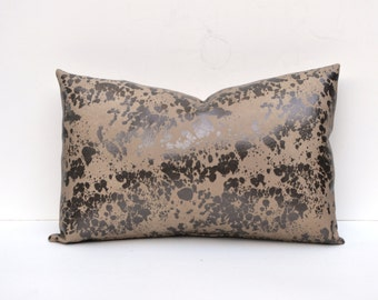 Spotted Faux Leather Pillow Cover Spotted Hide Taupe, Bronze, Brown 14 x 24, 12x 18, 16 x 16 Square, Lumbar, Many Sizes