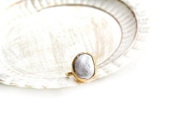 Adjustable Oval Pearl Gold Plated Ring