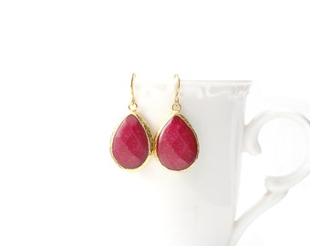 Polished Gold Plated Framed Drop Crimson Jade Earrings