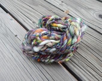 Hand spun art yarn - carded fibers, bamboo, wool and silk - 23 yards, 2.2 oz.