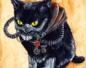 Immortan Diesel: Fine Art Watercolour Black Cat Mad Max Print