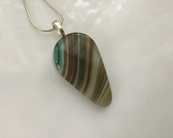 Fused Glass Jewelry, Brown Tan Turquoise Art Glass Pendant, Earth Tones Teardrop Necklace