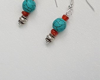 Howlite, Carnelian & Turquoise earrings