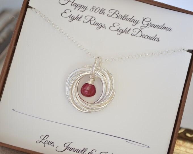 Ruby birthstone necklace, 80th Birthday gift for grandma, 8th Anniversary gift, 80th Birthday for mom, Jewelry for mom, July birthstone neck