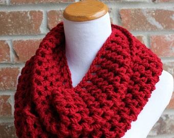 Red Knit Infinity Scarf - Christmas Scarf - Red Winter Crochet Scarf - Red Chunky Scarf - Cranberry Scarf - Crimson Tide Alabama Football