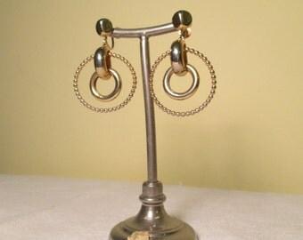 Juvenile Delinquent Vintage 1950s 50s Gold Metal Hoop Dangle Screwback Earrings -Hot Rod-Rockabilly-Bad Girl-Pinup-Bombshell-Vixen-Marilyn