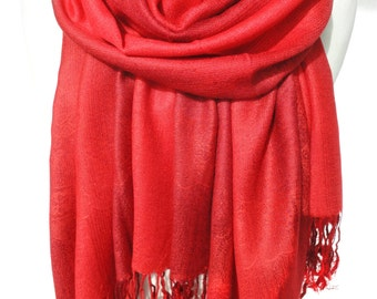 Red Scarf Shawl. Birthday Gift for Her. Soft Smooth Winter Shawl, Pashmina. Woman scarf. Red Shawl. Echarpe Foulard. 27x71in Ready2Ship