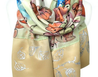 Hand Painted Silk Shawl. Luxury Heavy Scarf. Birthday Gift for Her Wedding Floral Scarf Gold Silk Art Unique Handmade 16x68in Ready2Ship