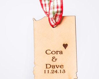 Indiana State Ornament Indiana Ornament Hoosier Ornament State Shape Ornament Leather Ornament