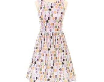 Pastel Lozenges Circle Print Handmade 1950's Style Francis Sleeveless Dress