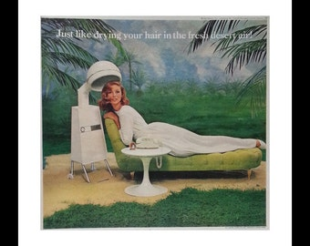 Exquisite She Spa.  Ginger Is It?  Down by the beach.  Schick's 'Le Salon' ad Curious Ad.  13 x 10.  Ready for Framing.