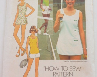 """7334 Simplicity Size 7/8 Bust 29"""" Yng Jr Teen Pattern How To Sew Pattern Tennis Dress or Top and Shorts Vintage 1976 Uncut"""