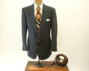 1970s Navy Blue Suit Jacket Vintage Mens Textured Linen Look Dark Blue Blazer / Sport Coat by HAGGAR - Size 46 (XL)