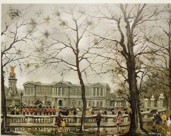 Maurice Legendre London Print Set. Buckingham Palace and London Tower and London Bridge.