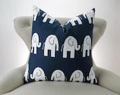 Elephant Pillow, Navy Blue & White Nursery Pillow, Euro Sham, Kids Decor, Zoo Nursery -up to 28x28 inch- Ele by Premier Prints
