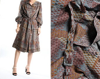 Vintage Retro Wool Midi Dress / Brown Silver Grey Gray Dress / Retro Pattern Winter Warm Dress / Long Sleeves / 70s Womens SIze medium US 12