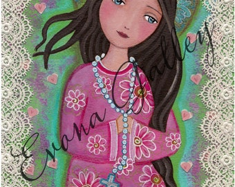 Blessed Virgin Mary, 8 X10 Print Of Original Art ,Mix Media, Rosary, children art, wall art Folk Art, Wall Decore by Evona